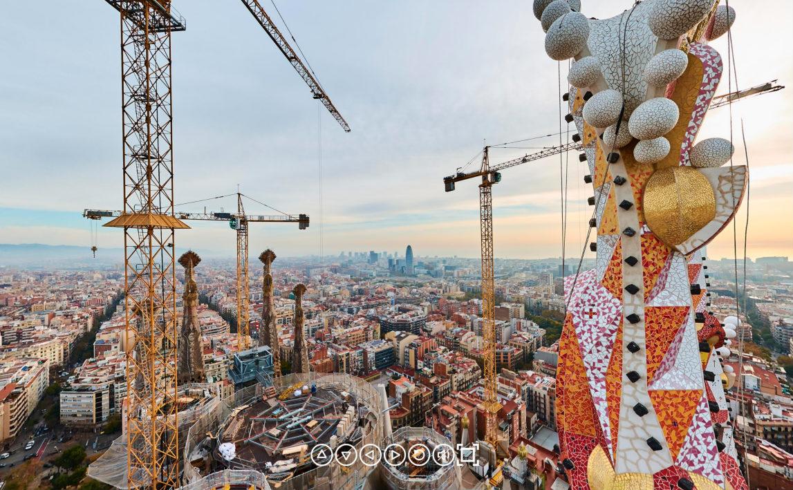 Sagrada Familia wirtualne zwiedzanie widok z wieży